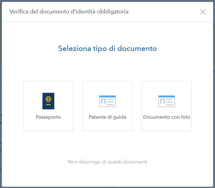 verifica documento identita su coinbase